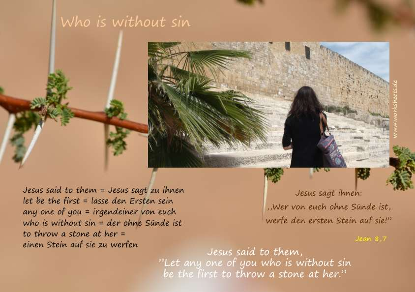 Who is without sin Wer ohne Sünde ist